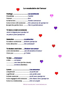 Valentine's Day Vocabulary French-Anglais FREE