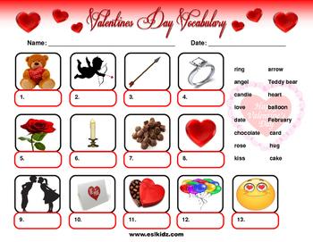 Valentine's Day Vocabulary Identification
