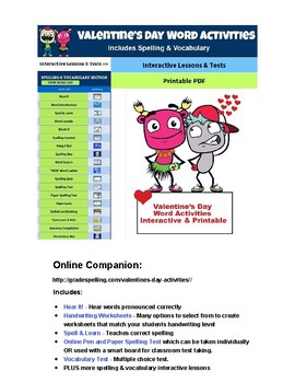 FREE Valentine's Day Vocabulary | Spelling | Handwriting | Writing Printables