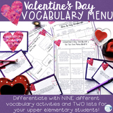 Valentine's Day Vocabulary Choice Menu--Activities for Easy Differentiation