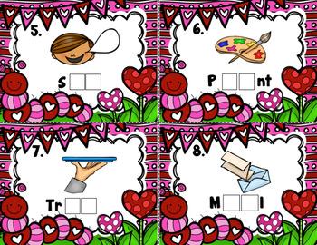 Valentine's Day Vowel Teams Task Card Literacy Center