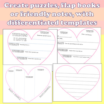 """Valentine's Day """"WH' Craftivities, Flap Book and Heart Shaped Writing Prompts"""
