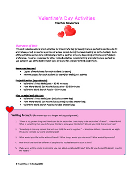 Valentine's Day WebQuest (Internet Scavenger Hunt) and Activities