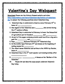 Valentine's Day Webquest