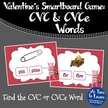 Valentine's Day Which CVC or CVCe Word Matches (Smartboard/Promethean Board)