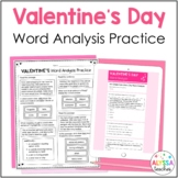 Valentine's Day Word Analysis Worksheets (SOL 4.4 and 5.4)