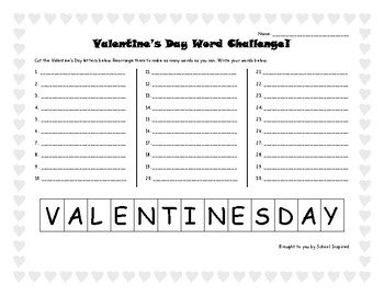 Valentine's Day Word Challenge! Word Work