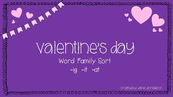 Valentine's Day Word Family Sort