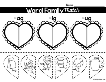 Valentine's Day Word Family Sort Freebie