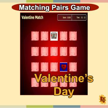 Valentine's Day Word Matching Pairs Game Grade 1-5