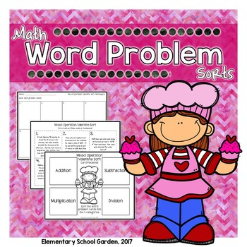 Valentine's Day Word Problem Sort - Add, Subtract, Multiply, & Divide