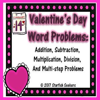 Valentine's Day - Word Problem Task Cards
