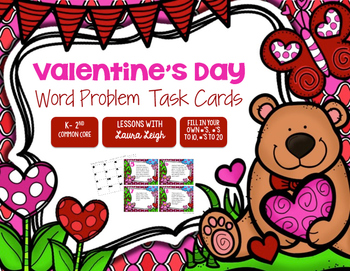 Valentine's Day Word Problem Task Cards & Game Board