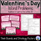 Valentine's Day Word Problems Addition and Subtraction Think Boards within 20