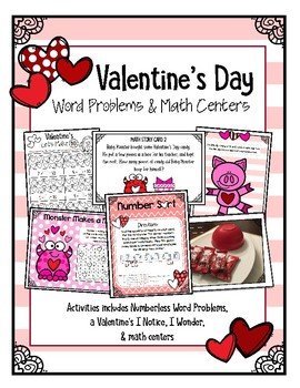 Valentine's Day Word Problems and Math Stations