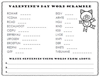 Valentine's Day Word Scramble and ABC Order Cut and Paste