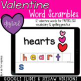Valentine's Day Word Scrambles DIGITAL | Distance Learning