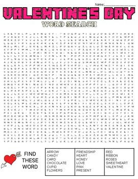 Valentine's Day Word Search: 3 Difficulties