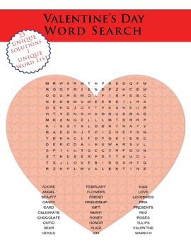 Valentine's Day Word Search Class Set of 25