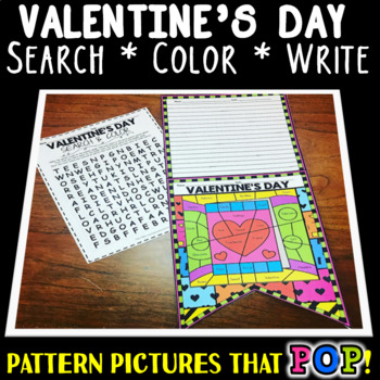 """Valentine's Day Word Search, Color, and Write: """"Pattern Picture"""""""