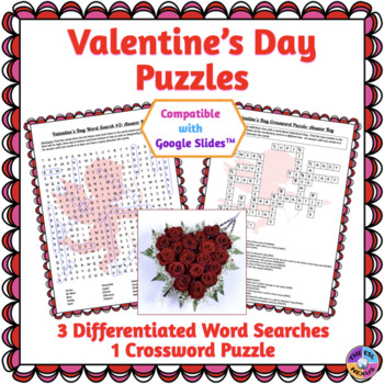Valentine's Day Word Search & Crossword Puzzles: Print & Paperless Versions