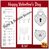 Valentine's Day Word Search, Math Worksheets and Mazes K-1st