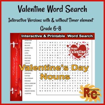 Valentine's Day Word Search Puzzle Grade 6-8
