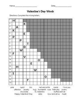 Valentine's Day Word Search and Activites