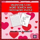 Valentine's Day Word Search and Crossword Puzzles for Dist
