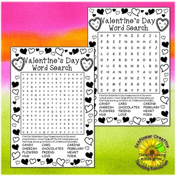 Valentine's Day Word Searches and Coloring Sheets