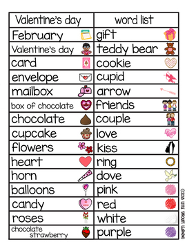 Valentine's Day Word Wall (includes word list and word work pages)