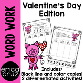Valentine's Day Word Work and Literacy Center Activity