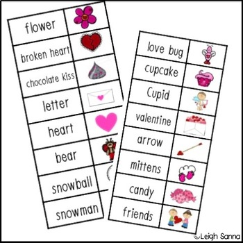 Valentine's Day Word Writing Lists