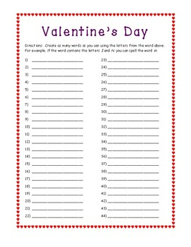Valentine's Day Working with Words / Making Words ELA Activity
