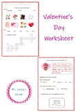 Valentine's Day Worksheet. Reading and Vocabulary.