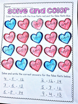 Literacy Worksheets and Math Worksheets for First Grade - Valentine's Day