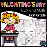 First Grade Math Worksheets and Literacy Worksheets - Valentine's Day