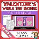 Valentine's Day Would You Rather Questions FREE
