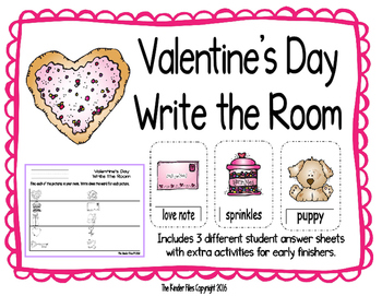 Valentine's Day Write the Room- Includes 3 levels of answe