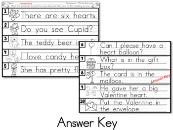Valentine's Day Write the Room Activity - Sentence Reading