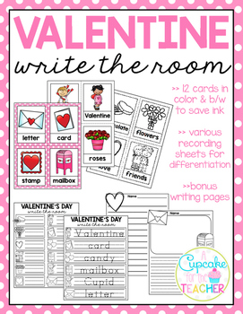 Valentine's Day Write the Room (Bonus Writing Pages)