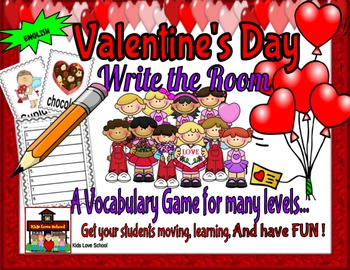 Valentine's Day-Write the Room-ENGLISH. Great for-centres-