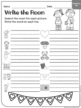Valentine's Day - Write the Room & Writing Prompts {Cardstock or Post Its}