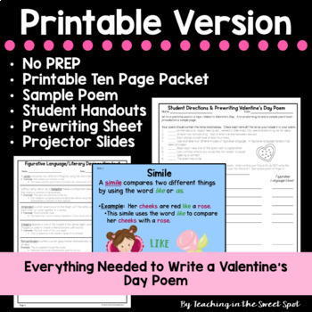 Valentine's Day Activity:  No Prep Poetry Writing Middle School