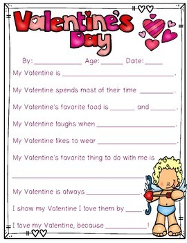 Valentine's Day Writing Activity: All About my Valentine! {Color and B&W)