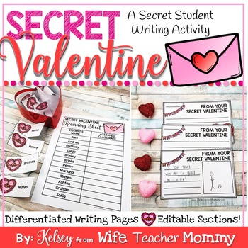Valentine's Day Writing Activity- Secret Valentine Writing Prompts.
