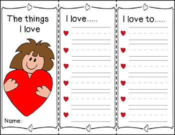 """Valentine's Day Writing Activity """"The Things I Love"""""""
