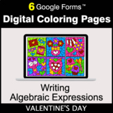 Valentine's Day: Writing Algebraic Expressions - Digital Coloring Pages