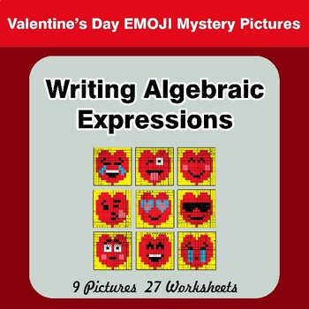 Valentine's Day: Writing Algebraic Expressions - Math Mystery Pictures