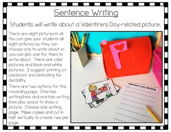 Valentine's Day Writing Center Pack for Kindergarten